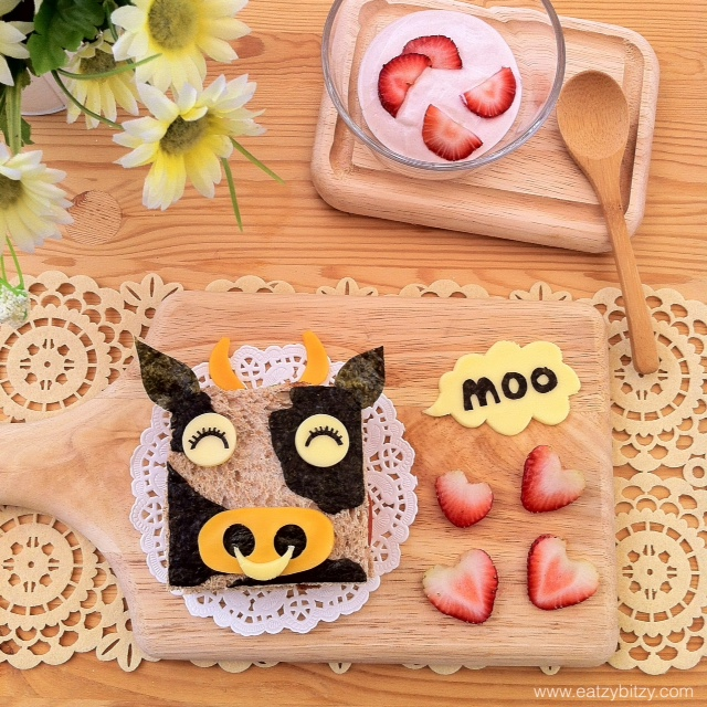 Cow, cartoon, moo moo cow, cute food, food, cute, bento, food art, kids, sandwich, sandwiches, bread, breakfast, toasts