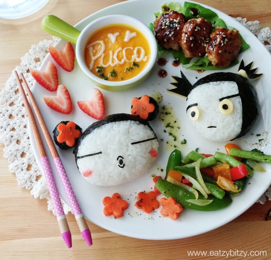 pucca, pucca and garu, obento, bento, pucca bento, pucca food, cute, cute food, kyaraben, pucca kyaraben, leesamantha, samantha lee, soup, soup art, chinese food, japanese, sushi, kawaii kyaraben, ameblo, malaysia, malaysia bento, asia, asian food, cutest, cutest food, food art, foodart