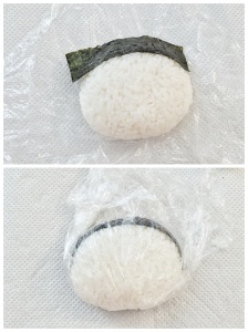 make hair for Pucca with nori. Wrap it with cling wrap again.